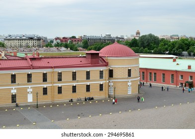 SAINT-PETERSBURG, RUSSIA - JUNE 19, 2015. City view panorama of Saint-Petersburg buildings and Peter and Paul Fortress territory - view from a height