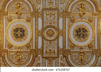Saint-Petersburg, Russia - June, 1st, 2017 Interiors of the State Hermitage Museum. Vaulted ceiling of Gold Drawing Room.
