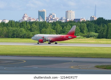 SAINT-PETERSBURG, RUSSIA - JUNE 20, 2018: Airbus A319-114 (VP-BIU) airplane of the Rossiya airline on the runway at Pulkovo airport
