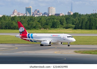 SAINT-PETERSBURG, RUSSIA - JUNE 20, 2018: Airplane Sukhoi Superjet 100 (RA-89087) of Yamal Airlines on the taxiway on the Pulkovo Airport
