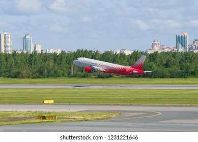 SAINT-PETERSBURG, RUSSIA - JUNE 20, 2018: Aircraft Airbus A320-214 (VQ-BCG) of the Rossiya Airlines taking off. Pulkovo Airport