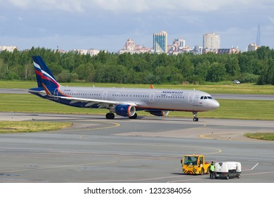 "SAINT-PETERSBURG, RUSSIA - JUNE 20, 2018: Airbus A321-211 ""Robert Rozhdestvensky"" (VP-BTH) of Aeroflot airlines on the Pulkovo airport on a summer day. St. Petersburg"
