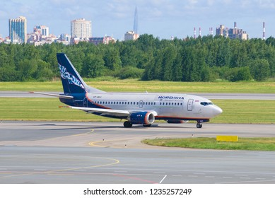 SAINT-PETERSBURG, RUSSIA - JUNE 20, 2018: Boeing 737-500 (VP-BKU) of Nordavia airlines on the taxiway of Pulkovo airport