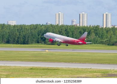 SAINT-PETERSBURG, RUSSIA - JUNE 20, 2018: Aircraft Airbus A320-214 (VP-BWH) of Russia Airlines takes off on Pulkovo airport