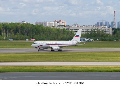 """SAINT-PETERSBURG, RUSSIA - JUNE 20, 2018: Aircraft Tu-2014-300 (RA-64058) of the special flight unit """"Russia"""" on the airfield of Pulkovo Airport"""