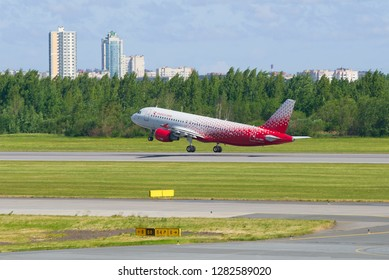 SAINT-PETERSBURG, RUSSIA - JUNE 20, 2018: Aircraft A320-214 (VP-BWH) of the Rossiya airline taking off. Pulkovo Airport