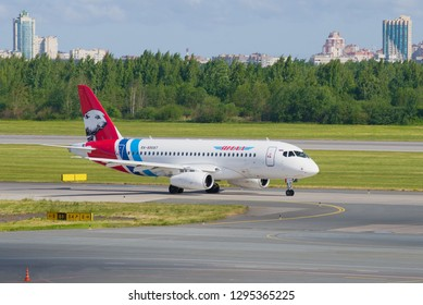SAINT-PETERSBURG, RUSSIA - JUNE 20, 2018: Airplane Sukhoi Superjet 100 (RA-89087) of Yamal Airlines in Pulkovo airport on a sunny summer day