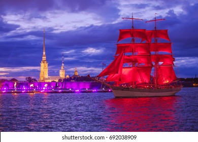 SAINT-PETERSBURG, RUSSIA - JUNE 22, 2017: Swedish brig Tre Krunur on rehearsal for the annual celebration school graduates Scarlet Sails opposite the Peter and Paul fortress in Saint-Petersburg