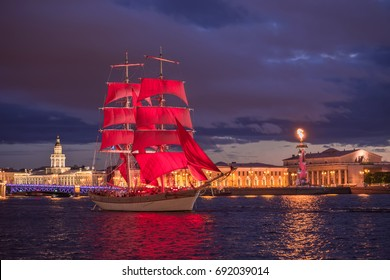 SAINT-PETERSBURG, RUSSIA - JUNE 22, 2017: Swedish brig Tre Krunur on rehearsal for the annual celebration school graduates Scarlet Sails opposite the Vasilievsky island in Saint-Petersburg