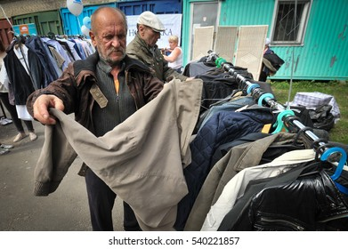 Saint-Petersburg, Russia - June 23, 2016: Charity volunteer action on the giving of second hand clothes to the homeless of the city.