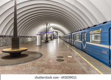 SAINT-PETERSBURG, RUSSIA - JUNE 23, 2017: Departing train at the metro station Staraya Derevnya in Saint-Petersburg
