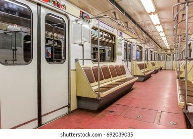 SAINT-PETERSBURG, RUSSIA - JUNE 23, 2017: Empty subway car of the St. Petersburg metro