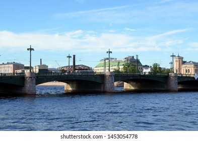 SAINT-PETERSBURG, RUSSIA - JUNE 23, 2019: View on the Sampsonievsky bridge (Samson Bridge) over Bolshaya Nevka (the Great Nevka River) in Saint-Petersburg, Russia