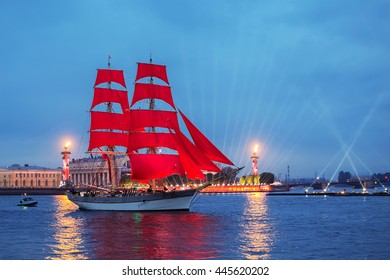 "SAINT-PETERSBURG, RUSSIA - JUNE 24, 2016: Swedish brig ""Tre Krunur"" on rehearsal for the annual celebration school graduates Scarlet Sails"