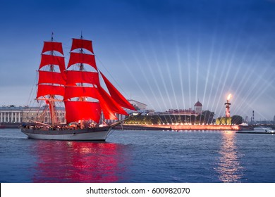 SAINT-PETERSBURG, RUSSIA - JUNE 24, 2016: Swedish brig Tre Krunur on rehearsal for the annual celebration school graduates Scarlet Sails in St. Petersburg