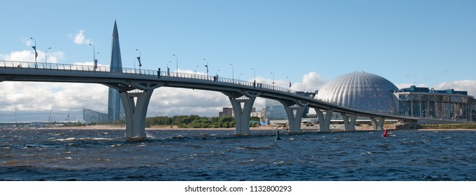 SAINT-PETERSBURG, RUSSIA – JUNE 29, 2018: View of The Gulf of Finland, Yacht Bridge, 300 years St. Petersburg Anniversary Park and Lakhta Center