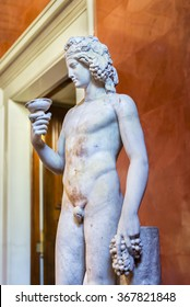 SAINT-PETERSBURG, RUSSIA - JUNE 6, 2015: Sculpture of  Dionysus.God of wine, is the patron vegetable of the forces of nature (Roman copy from a Greek original).Collection of State Hermitage Museum.