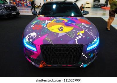 Saint-Petersburg, Russia - June 9 2018:  Painted Audi on Royalautoshow in Expoforum.