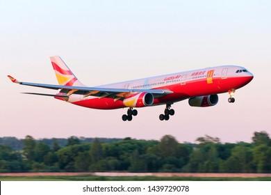 SAINT-PETERSBURG, RUSSIA - JUNY 23, 2019 - Lucky Air Airbus 330 in Pulkovo International Airport