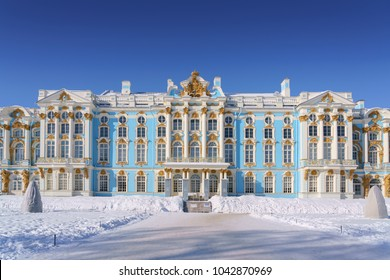 Saint-Petersburg, RUSSIA - Mar 03 2018, The Catherine Palace, Tsarskoye Selo, Pushkin, Saint-Petersburg, Russia