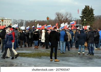 SAINT-PETERSBURG, RUSSIA, MARCH 1, 2015 - Action in memory of Boris Nemtsov in St. Petersburg on March 1st 2015. Opposition politician Boris Nemtsov was shot on February 27 2015 in Moscow
