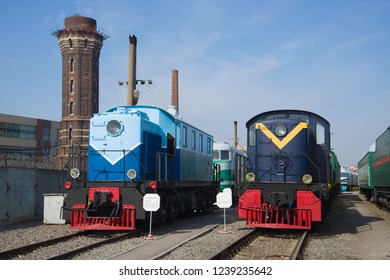 SAINT-PETERSBURG, RUSSIA - MARCH 16, 2016: Two rare diesel locomotives in the old museum of railway transport