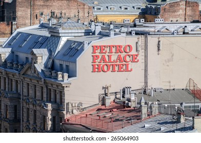SAINT-PETERSBURG, RUSSIA - MARCH 17, 2015.  Petro Place Hotel in Saint-Petersburg. bird's eye view