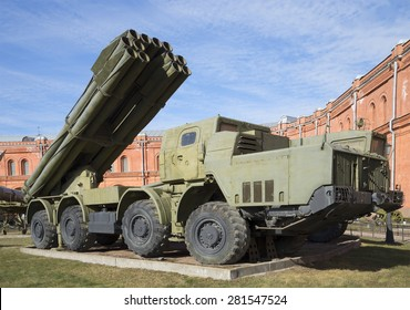 "SAINT-PETERSBURG, RUSSIA - MARCH 27, 2014: Fighting vehicle, multiple launch rocket systems fire 9K58 ""Smerch"" in the Museum of artillery"
