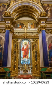 Saint-Petersburg, RUSSIA - May 02 2018, panoramic view on interior Isaac's cathedral, Saint-Petersburg, Russia