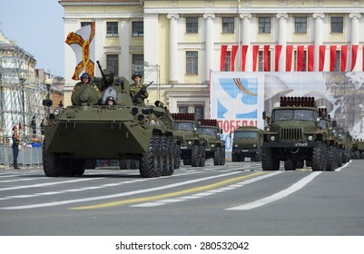 SAINT-PETERSBURG, RUSSIA - MAY 05, 2015: Military convoy on rehearsal of parade in honor of Victory Day