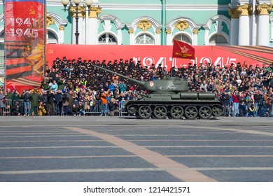 SAINT-PETERSBURG, RUSSIA - MAY 06, 2018: T-34-85 - Soviet tank of the period of the Great Patriotic War on the rehearsal of the military parade in honor of Victory Day