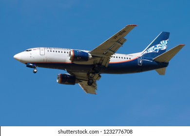 SAINT-PETERSBURG, RUSSIA - MAY 08, 2018: Boeing 737-5Y0 (VP-BRN)  of Nordavia airlines before landing on Pulkovo airport