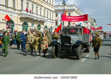 SAINT-PETERSBURG, RUSSIA - MAY 09, 2017: Soviet ZiS-5 truck takes part in the retro transport parade in honor of Victory Day on Nevsky Prospekt