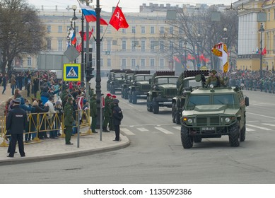 SAINT-PETERSBURG, RUSSIA - MAY 09, 2017: Column of BM-21-1 vehicles with Grad rocket launcher systems after the military parade in honor of Victory Day