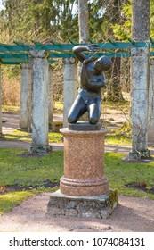 "SAINT-PETERSBURG, RUSSIA - MAY 11, 2017: The ""Ilion"" sculpture in Oranienbaum park"