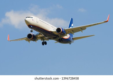 SAINT-PETERSBURG, RUSSIA - MAY 13, 2019: Boeing 737-800 Muslim Magomayev (VP-BKA) aircraft of the Aeroflot airline on a glide path before landing on Pulkovo airport