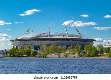 SAINT-PETERSBURG, RUSSIA - MAY 15, 2018: Krestovsky or St.Petersburg football stadum . View from water on FC Zenit or FIFA World Cup 2018 stadium