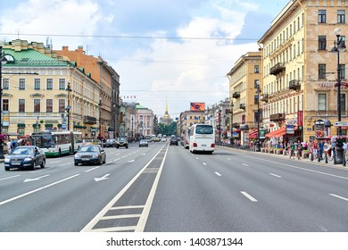 SAINT-PETERSBURG, RUSSIA - MAY 21, 2019: Cityscape. Traffic on a main street.