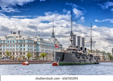 SAINT-PETERSBURG, RUSSIA - MAY 26, 2017: Cruiser Aurora on her mooring place in front of the Nakhimov College in St. Petersburg
