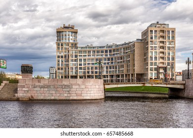 SAINT-PETERSBURG, RUSSIA - MAY 26, 2017: New elite residential complex  Omega House  on the riverside of Karpovka river in St. Petersburg