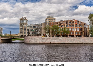 SAINT-PETERSBURG, RUSSIA - MAY 26, 2017: New elite residential complex Omega House  and business center on the riverside of Malaya Nevka river in St. Petersburg