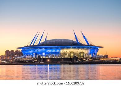 SAINT-PETERSBURG, RUSSIA, MAY 27, 2018: A new stadium on the Krestovsky island, known as the Saint Petersburg Arena, aka the Zenith Arena, aka the The Krestovsky Stadium