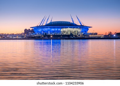 SAINT-PETERSBURG, RUSSIA, MAY 28, 2018: New modern the St. Petersburg Stadium on Krestovsky island. Built for the 2018 FIFA World Cup