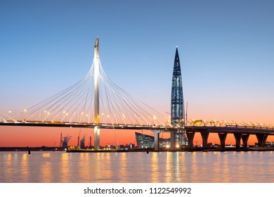 SAINT-PETERSBURG, RUSSIA, MAY 28, 2018: Skyscraper Lahta center on the shore of the Gulf of Finland at sunset. Designed by award winning British Architect Tony Kettle. The Europe s highest tower