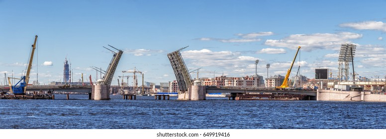 SAINT-PETERSBURG, RUSSIA - MAY 3, 2017: Panorama of Tuchkov bridge over the river Neva, raised during the repair, in Saint-Petersburg
