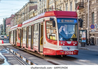 SAINT-PETERSBURG, RUSSIA - MAY 3, 2017: Tram number 6 with access on two sides (model 71-623-03.01) on 1-st Line street for the time of repair of the Tuchkov Bridge in St. Petersburg