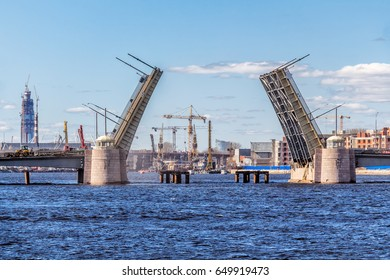 SAINT-PETERSBURG, RUSSIA - MAY 3, 2017: Tuchkov bridge over the river Neva, raised during the repair, in Saint-Petersburg