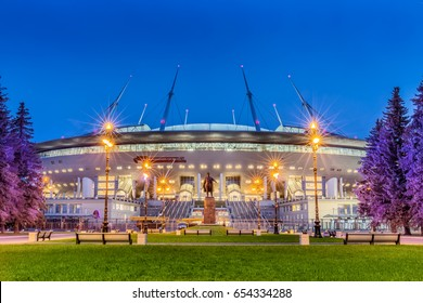 "SAINT-PETERSBURG, RUSSIA - MAY 30, 2017: Night view of new soccer ""Saint-Petersburg Arena"" on Krestovsky island in St. Petersburg for the World Cup 2018 before FIFA Confederations Cup"