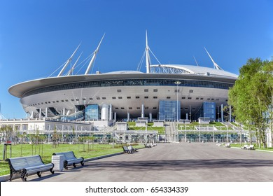 "SAINT-PETERSBURG, RUSSIA - MAY 30, 2017: New soccer ""Saint-Petersburg Arena"" on Krestovsky island in St. Petersburg for the World Cup 2018 before FIFA Confederations Cup"