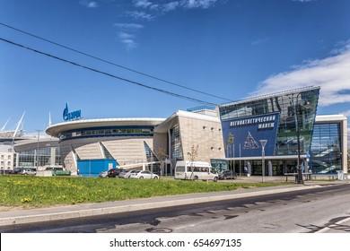 SAINT-PETERSBURG, RUSSIA - MAY 30, 2017: New indoor sport athletics stadium on Krestovsky island, St. Petersburg